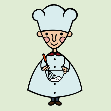 whips: funny cartoon cook whips cream in a bowl Illustration