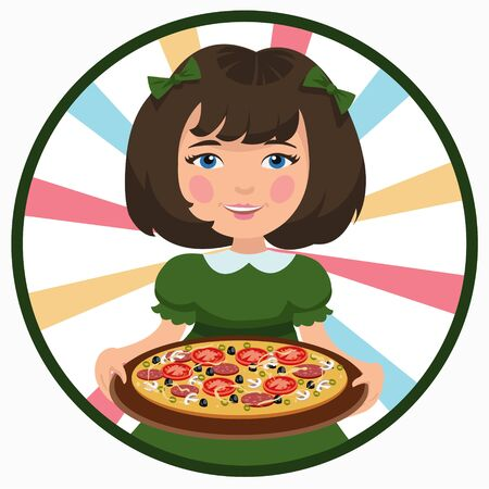 pizza crust: girl with pizza