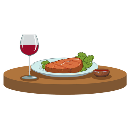 meaty: Grilled meaty Steak and a glass of red wine