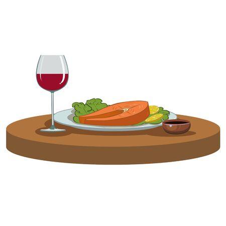 salmon steak: salmon steak and a glass of red wine