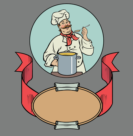 broth: smiling chef with soup Illustration