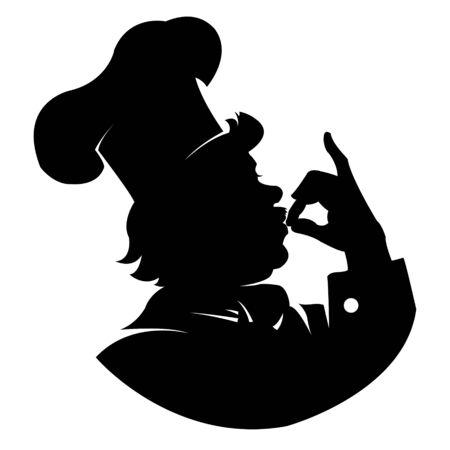 happy chef: silhouette of a happy chef in profile