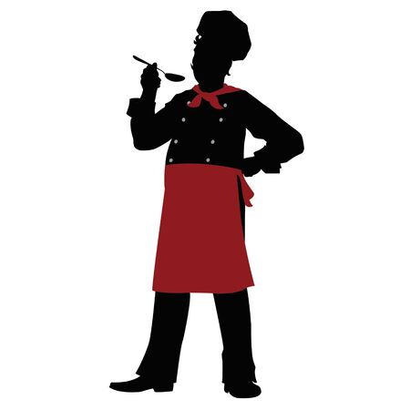 stately: silhouette of a chef with a spoon in his hand