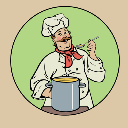 stately: smiling chef with soup Illustration