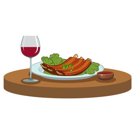 spare ribs: Barbecue ribs and a glass of red wine Illustration