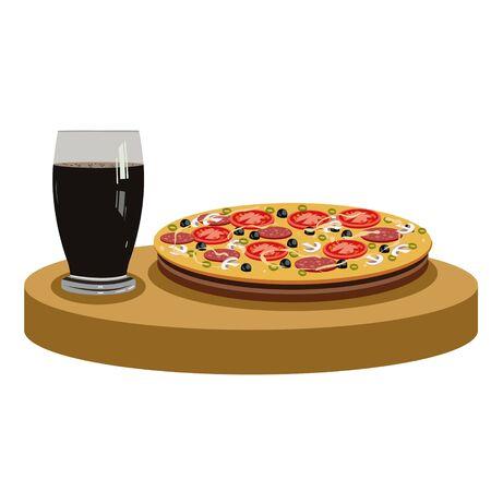edible mushroom: Cola and delicious pizza