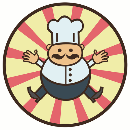 cook hats: funny cartoon cook with a mustache - vector illustration Illustration