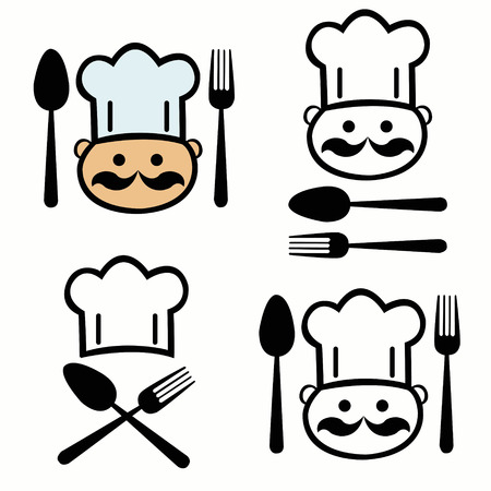 hombre caricatura: set of chef with fork and spoon