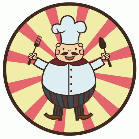 hombre caricatura: dibujo animado divertido cocinar con cuchara y tenedor