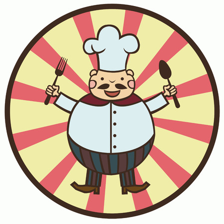 cartoon hat: funny cartoon cook with spoon and fork Illustration