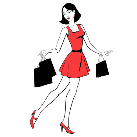 purchases: beautiful girl in red dress with purchases Illustration