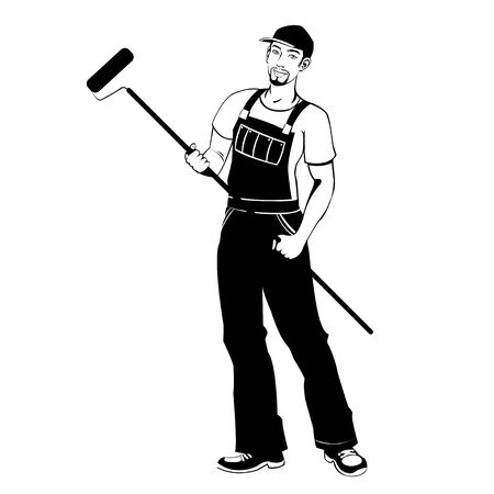 craftsmen repair: man working painter