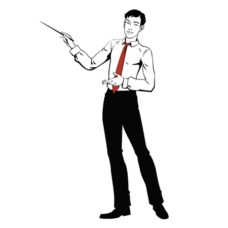 young businessman: young businessman presenting Illustration