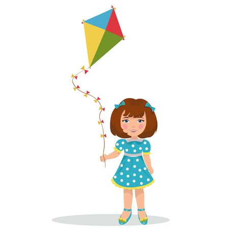 flying kite: girl with a kite.illustration of a cheerful girl flying kite.