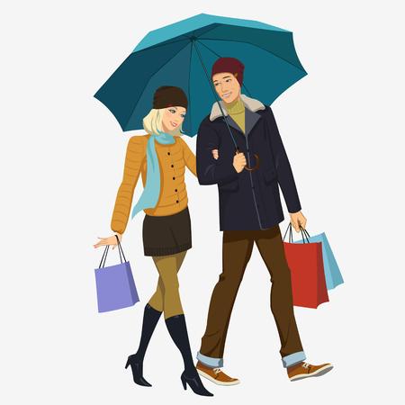 loving couple: loving couple under an umbrella