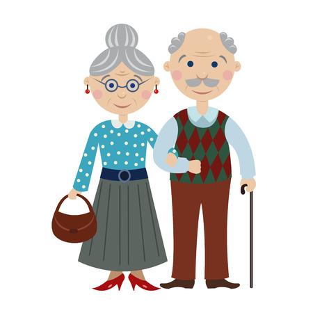 kind: happy cartoon grandparents Illustration