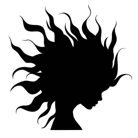 big woman: profile silhouette of girl