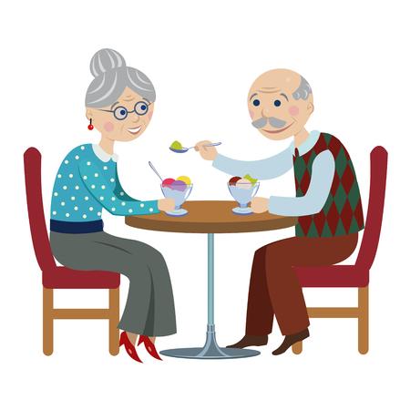 felice fumetto grandparents.An coppia di anziani sono seduti in un caffè e mangiare il gelato.