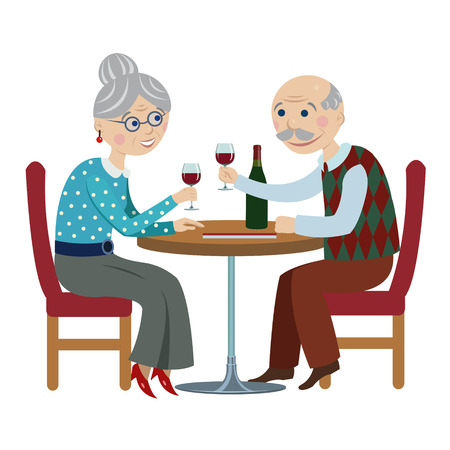 happy mature couple: happy cartoon grandparents.elderly couple drinking red wine in cafe