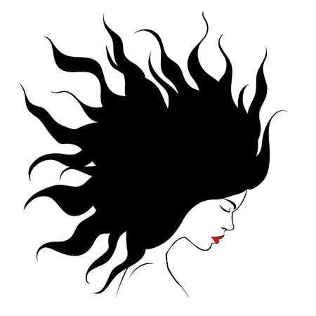 sophisticate: profile silhouette of girl.black silhouette of a girl with hair volume