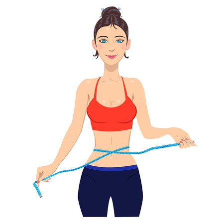 waistline: Young slim woman measuring waist with tape.illustration of slim lady with measuring tape