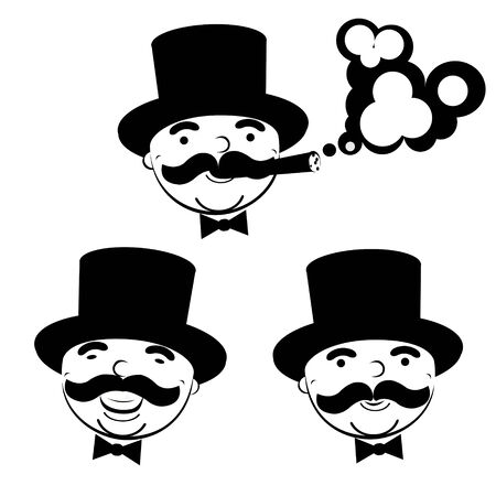cigar smoking man: black and white set of men in top hats