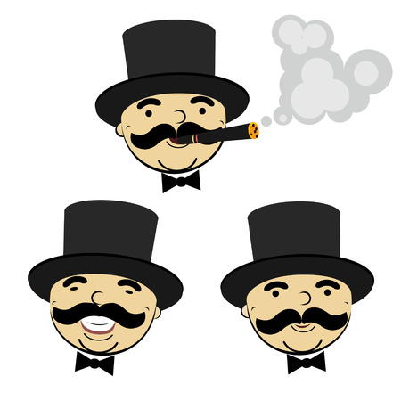 cigar smoking man: set of men in top hats - design element