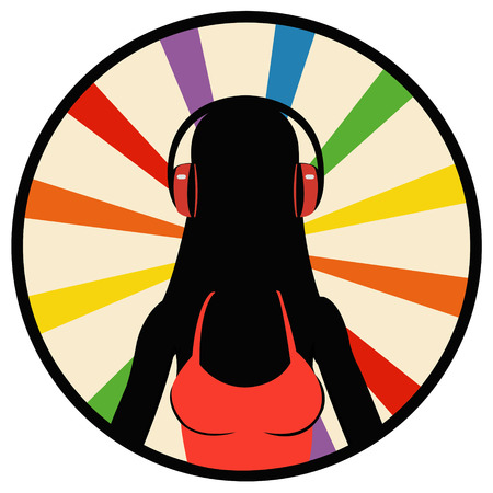 young girl: silhouette young girl listening music in headphones