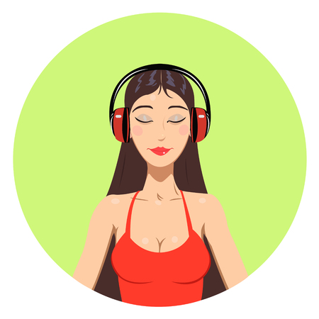 young girl: Young girl listening music in headphones