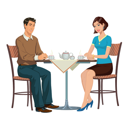 Jeune couple de boire du thé au thé couple potable table.Young dans un café