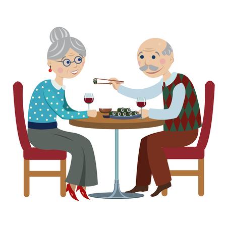 pareja comiendo: dibujos animados feliz pareja grandparents.elderly en una cafetería de comer sushi Vectores