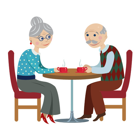 rendezvous: grandfather and grandmother drink tea.cartoon elderly couple drinking tea at the table Illustration