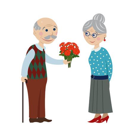 Opa geeft bloemen oma. Granny geeft een boeket bloemen oma