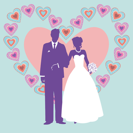 evening gown: silhouette of wedding couple.silhouette of wedding couple on the background of a large heart