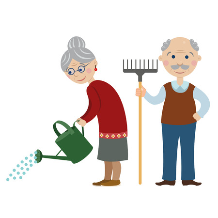 happy mature couple: happy cartoon gardeners grandparents.Grandma is watering from a watering can. grandfather with a rake Illustration