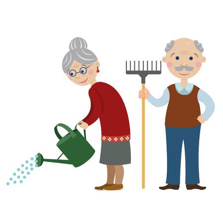Jardiniers de dessin animé heureux grandparents.Grandma est l'arrosage d'un arrosoir. grand-père avec un râteau Banque d'images - 60010355