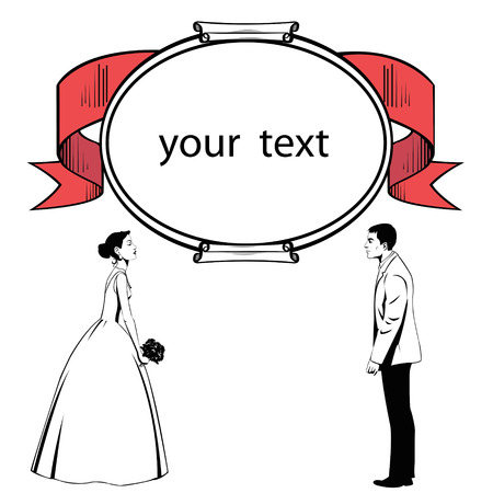 evening gown: silhouette of wedding couple.Silhouette of wedding couple on the background of poster