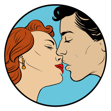 wooing: kissing love couple in retro style Illustration