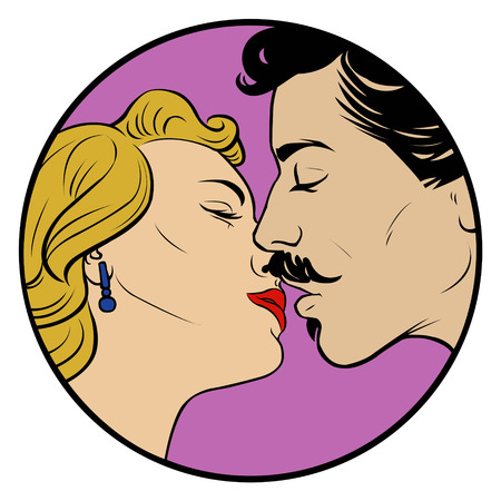 kissing: kissing love couple in retro style Illustration