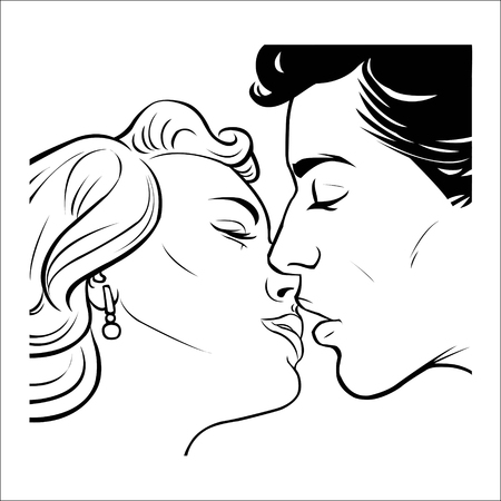 kissing love couple in retro style