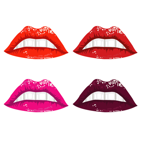 brightly: brightly colored glossy lips - illustration