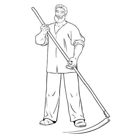mows: strong man mows the grass .young male farmer with scythe in his hands Illustration
