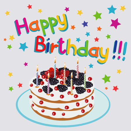 comfort food: Birthday Cake - Illustration.beautiful cake with candles on birthday - Illustration