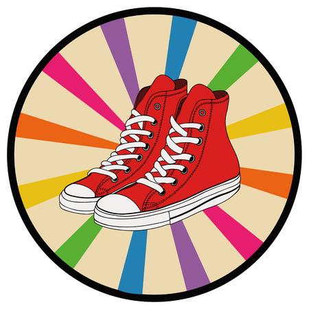convenient: Pair of red gumshoes. Teenage school street wear.side view sneakers