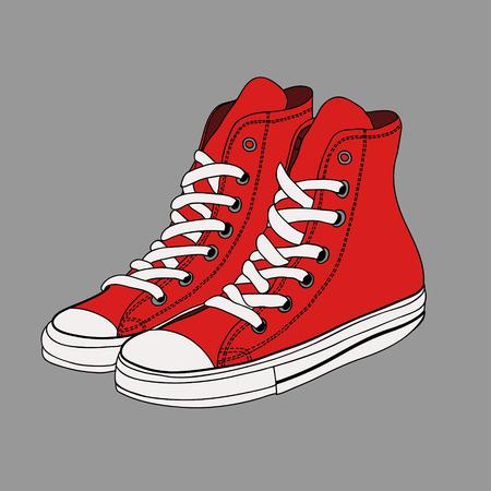 subculture: Pair of red gumshoes. Teenage school street wear.side view sneakers