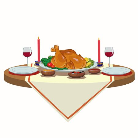 Christmas holiday table with turkey and wine