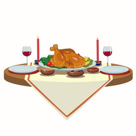 table de fête de Noël avec la dinde et le vin