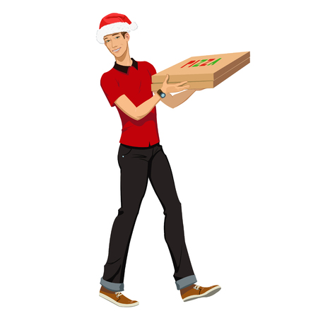 Christmas pizza delivery. guy in the Christmas hat was the pizza guy