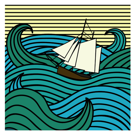 Abstract ship at sea illustration