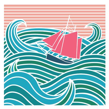 Abstract ship at sea illustration